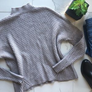 Ann Taylor LOFT Grey Mock Neck Knit Sweater
